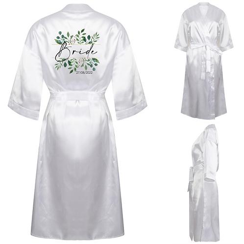 Personalised Bride Satin Robe - Flowers