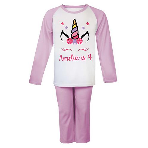 Personalised Unicorn Head Birthday Pyjamas