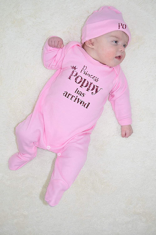Princess has arrived Plain Romper and Hat