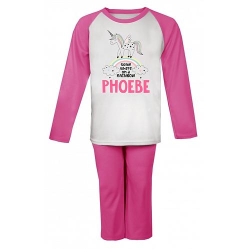 Somewhere on a Rainbow Unicorn Personalised Pyjamas