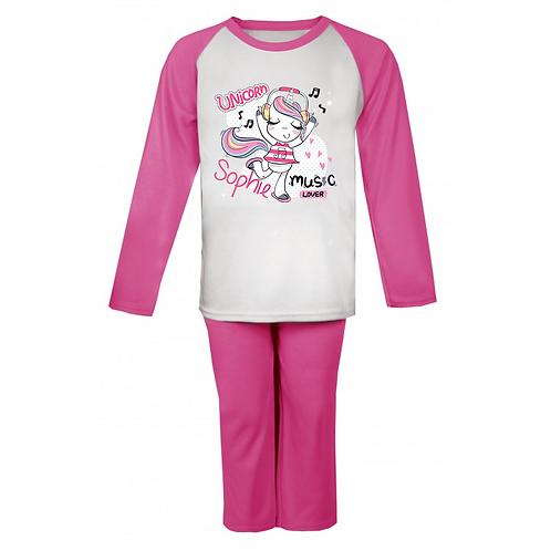 Unicorn Music Lover Personalised Pyjamas
