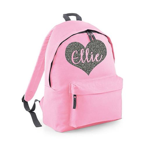 Glitter Name Heart Backpack