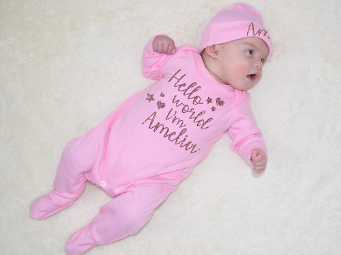 Hello World I'm Name Girls Romper and Hat Set