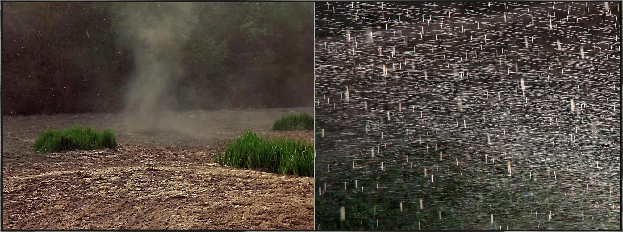 Tierra ondulante y lluvia