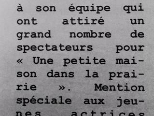La Troupe remerciée dans  le Bulletin Municipal de Saint-André