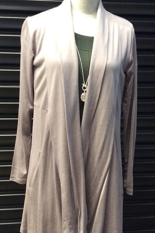 FOIL Merino Open Front Long Cardi With Discreet Zip Pocket