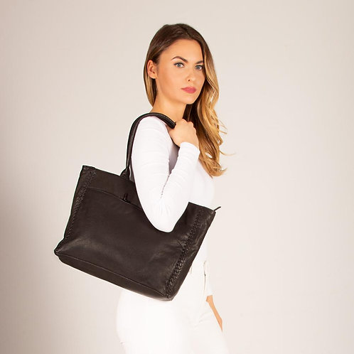 Lennox Leather Whipstitch Tote