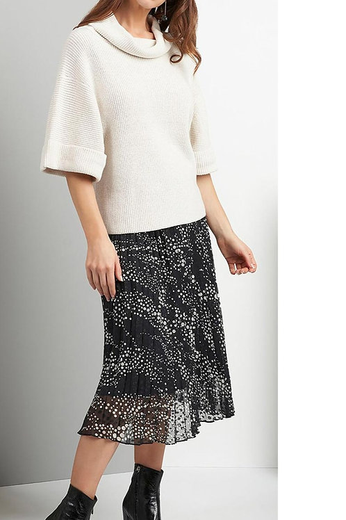 FOIL Allover Confetti Print Sunray Pleat Skirt, Fully Lined