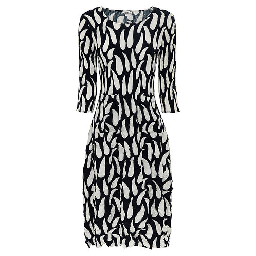 ALQUEMA 3/4 Sleeve Smash Pocket Dress Ink & White Drop Print ADC544