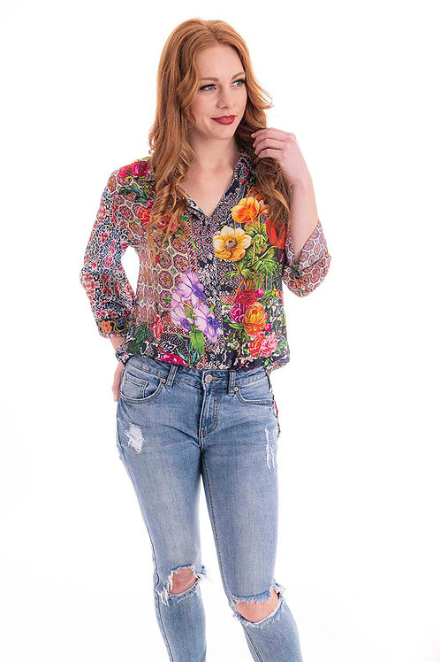 CIENNA Poppy Garden Silk Shirt