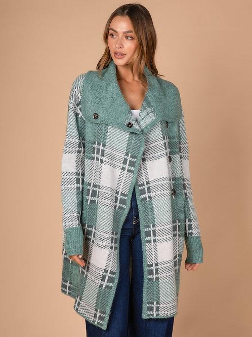 LD & CO Sage Check Knit Coat LC3171