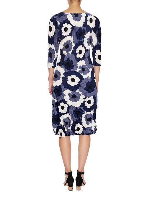 ALQUEMA 3/4 Sleeve Smash Pocket Dress Blue Flower Print ADC544
