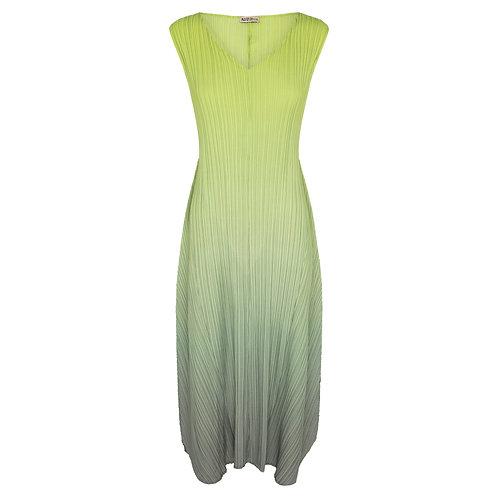 ALQUEMA Estrella Ombre Wasabi Moss V Neck Structured Dress AD1072