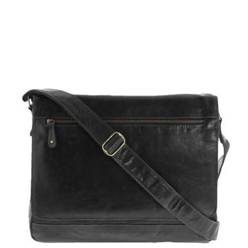 Declan Monogrammed Leather Laptop Satchel