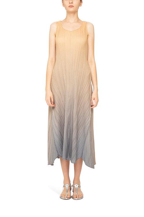 ALQUEMA Estrella Ombre Gold Charcoal V Neck Subtle Cap Slv Structured Dress A