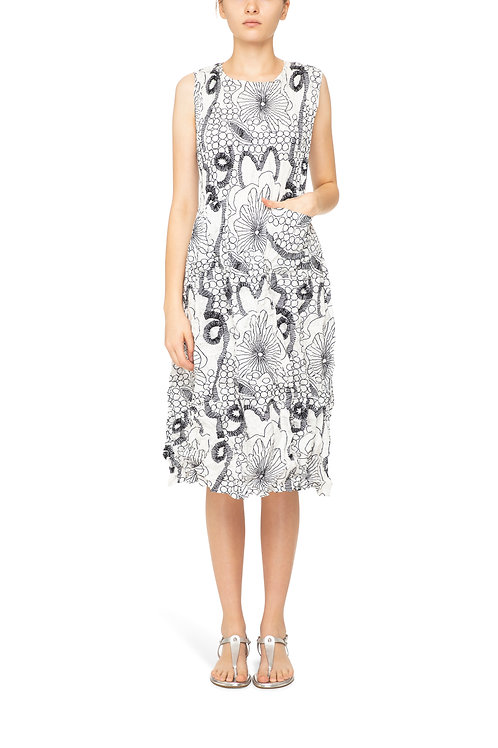ALQUEMA Sleeveless Abstract Print Smash Pocket Dress AD545