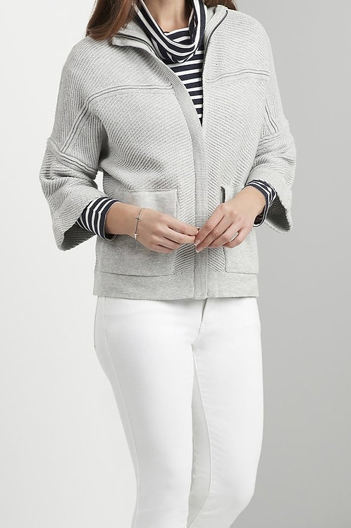 FOIL Zip Front Cardi With High Neck
