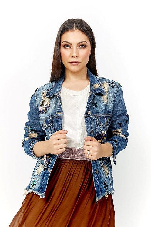 AMICI Distressed Denim Embellished Jacket