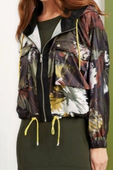 FOIL Flower Print Satin Bomber Jacket