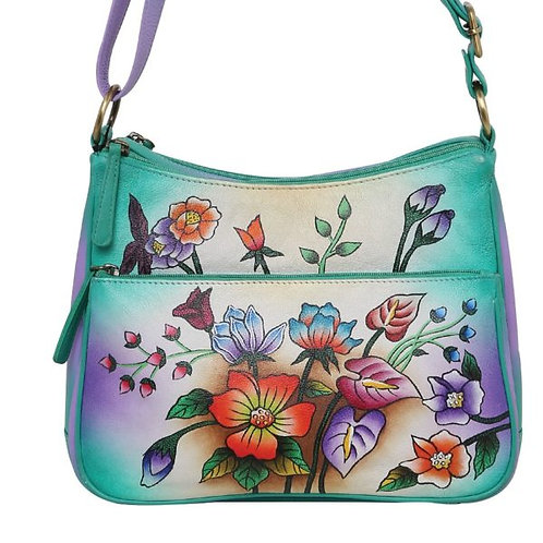 Ladies Leather Shoulder/Crossbody Bag 3153 Floral Delight