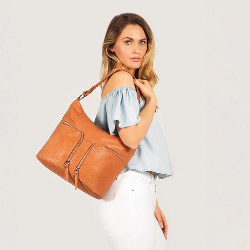 Ash Double Zip Soft Leather Shoulder Bag