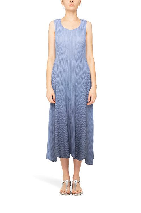 ALQUEMA Estrella Ombre Sky Indigo V Neck Structured Dress AD1072L