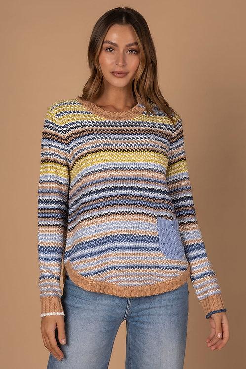 LD & CO Pearl Stripe Knit Camel Multi LC3168