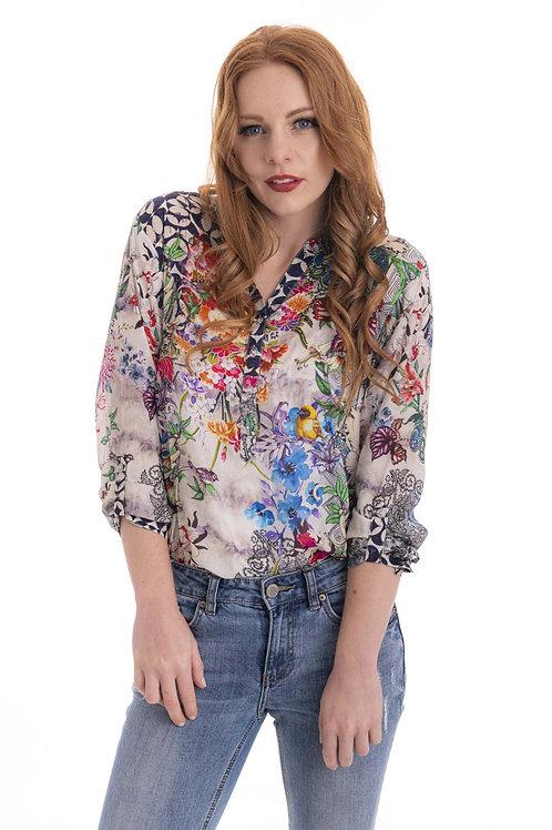 CIENNA Birds of Paradise Silk Shirt