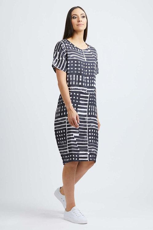 FOIL Linen Multi Stripe Check Pattern Shift Dress 6025