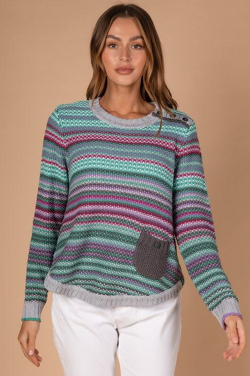 LD & CO Pearl Stripe Knit Marle Multi LC3168