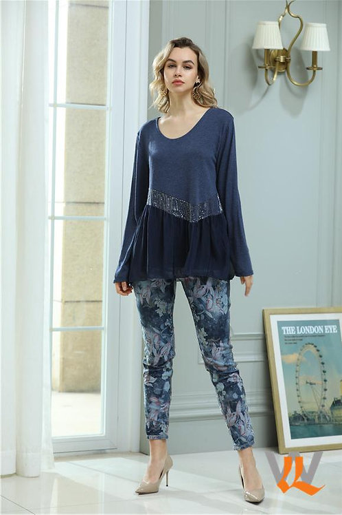 WEDNESDAY LULU Hibiscus Flower Reversible Jean
