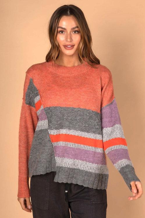 LD & CO Step Hem Knit Sunrise Combo LC3170