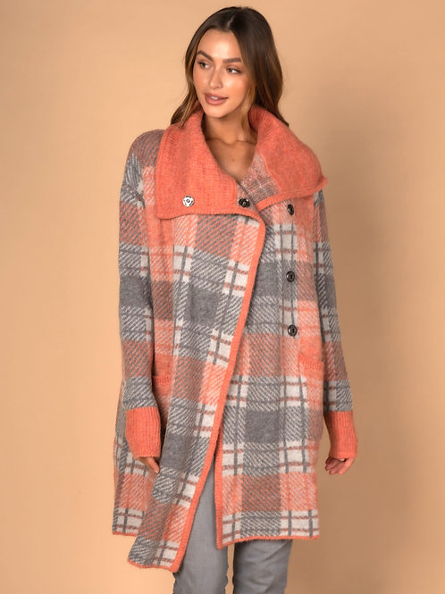 LD & CO Sunrise Check Knit Coat LC3171