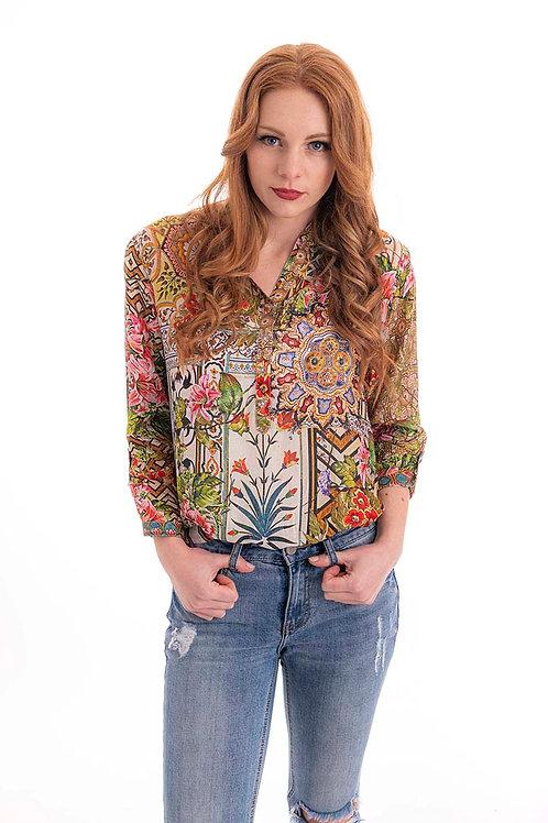 CIENNA Floral Window Print Silk Shirt