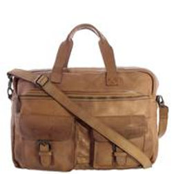 Bundaberg Monogrammed Washed Leather Briefcase