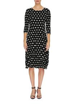 Alquema 3/4 Sleeve Smash Pocket Dress Black & White Polka  Print