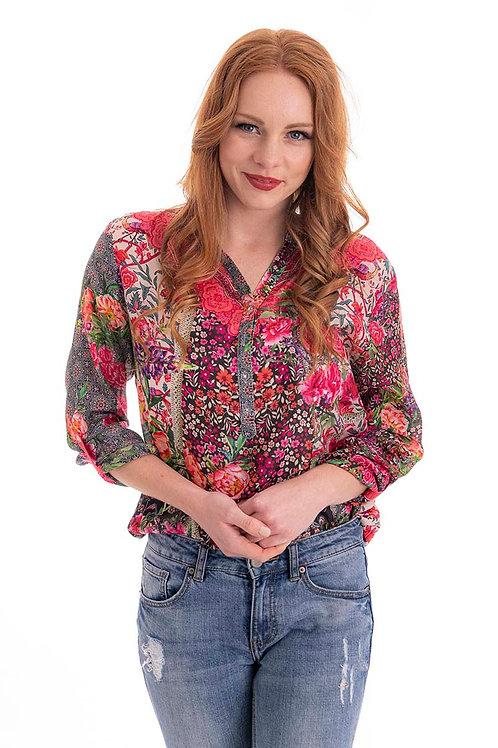 CIENNA Geranium Print Silk Shirt