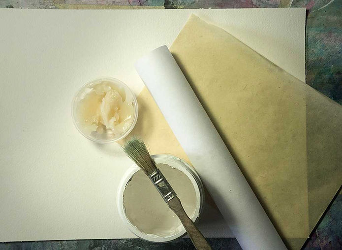 Materials for watercolor and collage