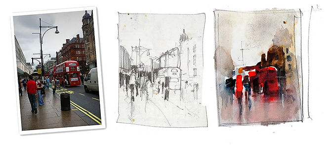 Example of tonal and color thumbnail sketches