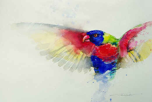 Painting of a parrot using white gesso