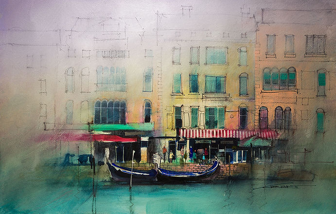 Watercolor of figures along a Venetian waterfront