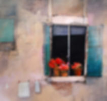 Painting of shutters open at different angles