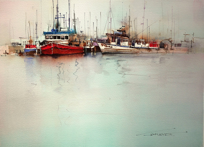 Painting of boats showing random placement, spacing and variation of masts, hulls and details