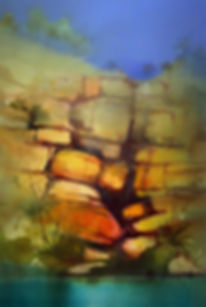Painting Water - watercolor painting of sandstone cliff © John Lovett