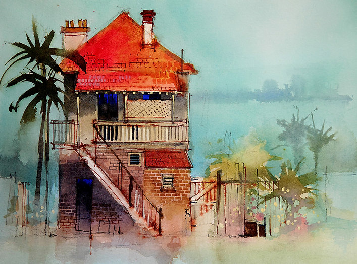 Watercolor of a building showing the use of complementary, saturated colors
