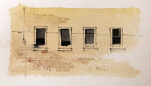 Watercolor window shapes showing how fine lines can be used for correction.