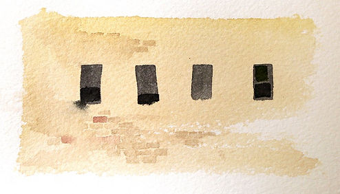 Watercolor window shapes without fine, correcting lines