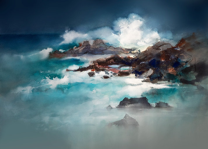 Watercolor and Mixed Media Painting of The Sea