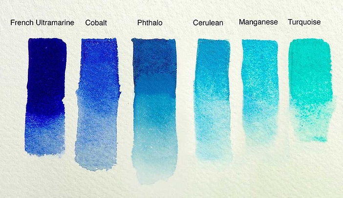 Swatches of various Blue watercolors