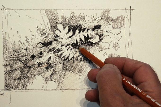 Charcoal thumbnail sketch